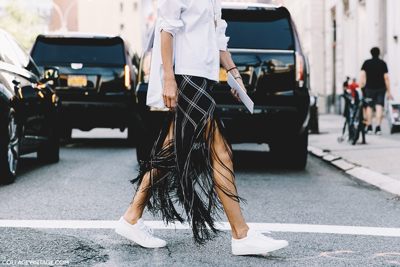 New_York_Fashion_Week-Spring_Summer-2016-Street-Style-Sarah-ruston_Fringed_Skirt-1