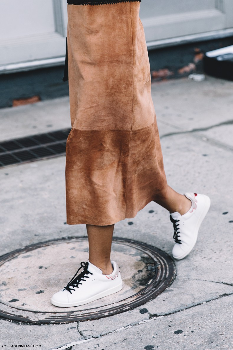 New_York_Fashion_Week-Spring_Summer-2016--Street-Style-Suede_Skirt-Isabel_Marant_Bart_Sneakers-