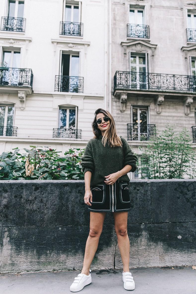 Khaki_Sweater-Zaitegui_Skirt-PFW-Sneakers-Sandro_Paris-Collage_Vintage-Street_Style-24