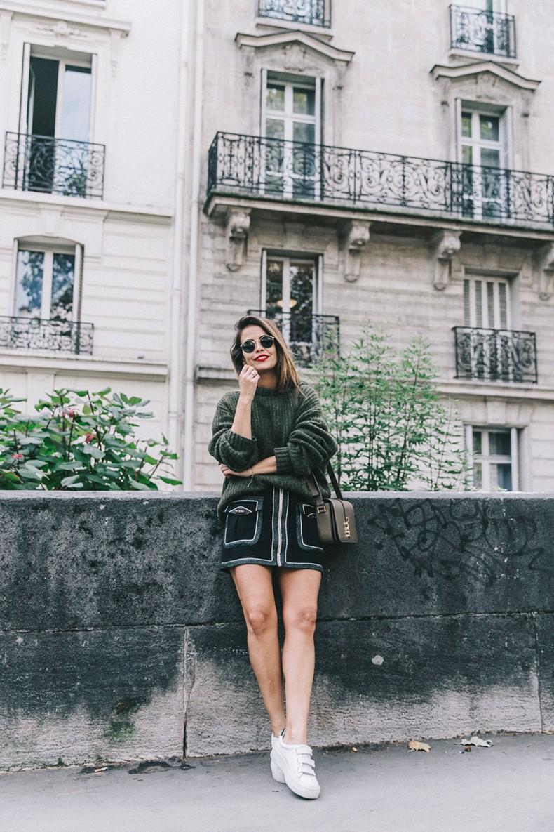 Khaki_Sweater-Zaitegui_Skirt-PFW-Sneakers-Sandro_Paris-Collage_Vintage-Street_Style-9