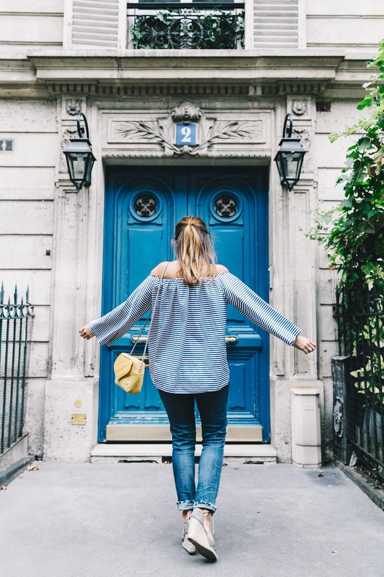 Ldies_in_Levis-Serie_700-Denim-Espadrilles-Off_The_Shoulder_top-Tita_Madrid_Bag-Yellow-Outfit-Paris-711_Skinny_Jeans-2