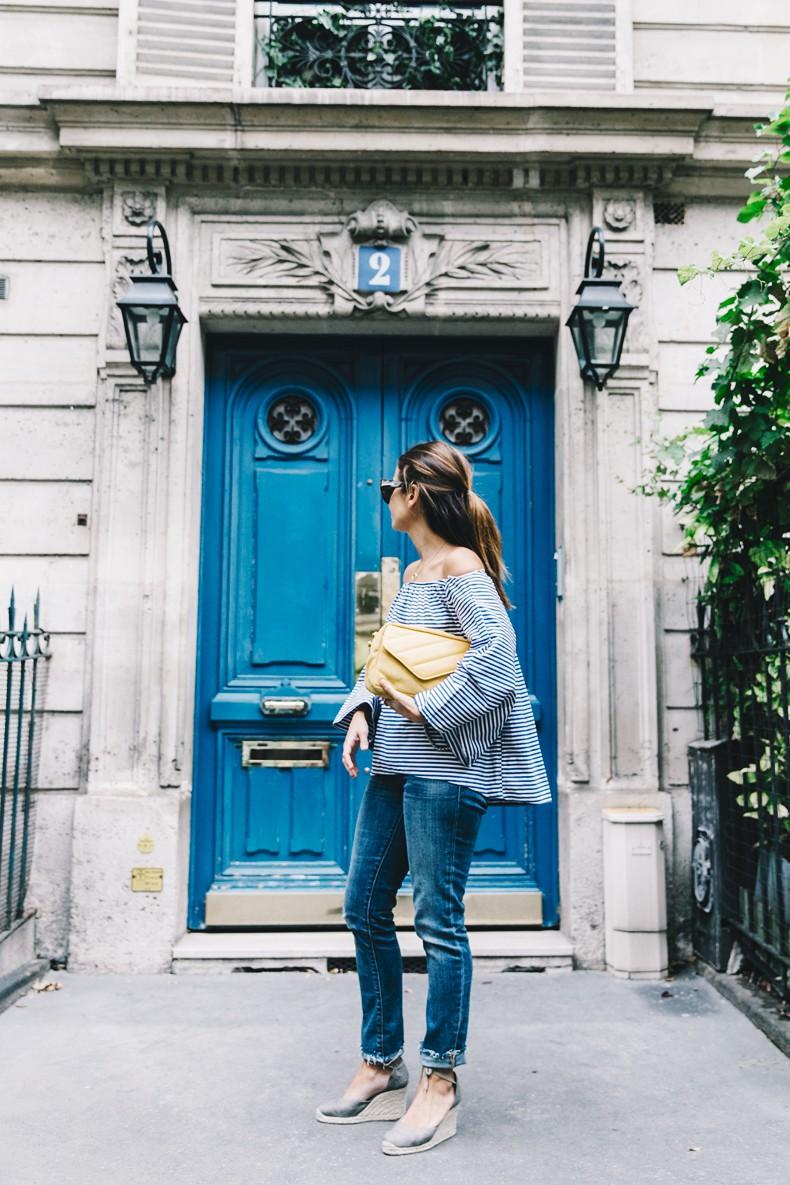 Ldies_in_Levis-Serie_700-Denim-Espadrilles-Off_The_Shoulder_top-Tita_Madrid_Bag-Yellow-Outfit-Paris-711_Skinny_Jeans-5