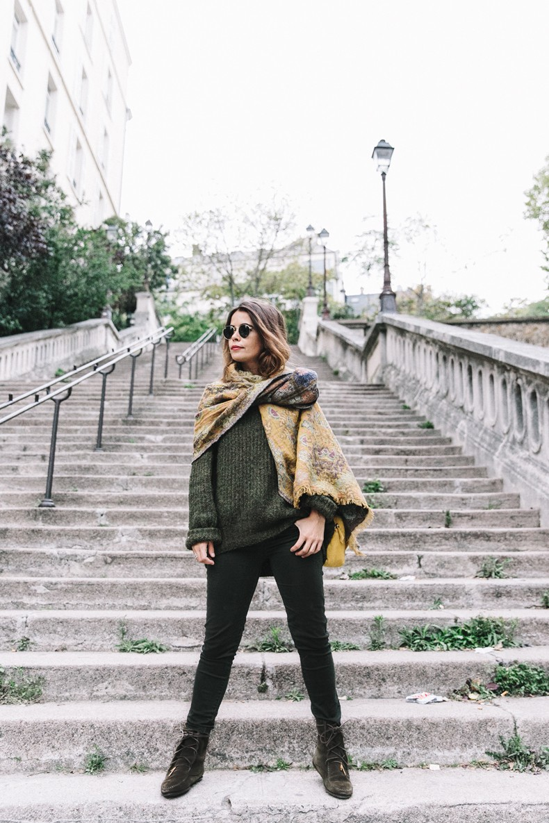 Maje_x_Minnetonka-Suede_Boots-Khaki_Outfit-Vintage_Scarf-Tita_Madrid_Bag-Yellow_Bag-Outfit-Paris-Street_style-Collage_Vintage-23
