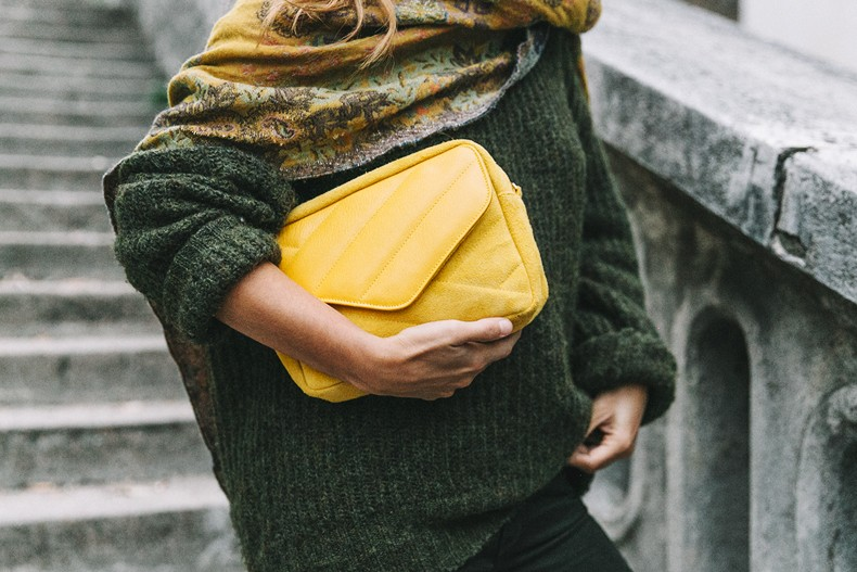 Maje_x_Minnetonka-Suede_Boots-Khaki_Outfit-Vintage_Scarf-Tita_Madrid_Bag-Yellow_Bag-Outfit-Paris-Street_style-Collage_Vintage-42