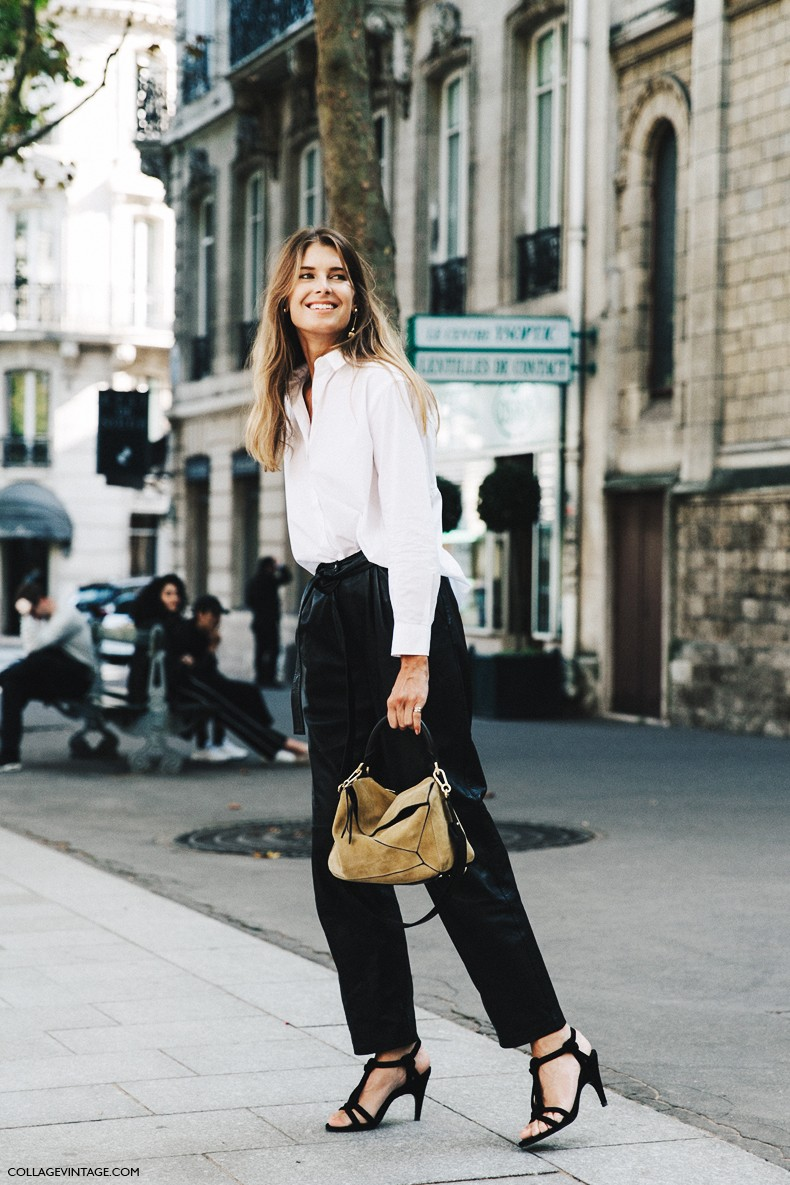 PFW-Paris_Fashion_Week-Spring_Summer_2016-Street_Style-Say_Cheese-Black_and_White-Loewe_Bag-