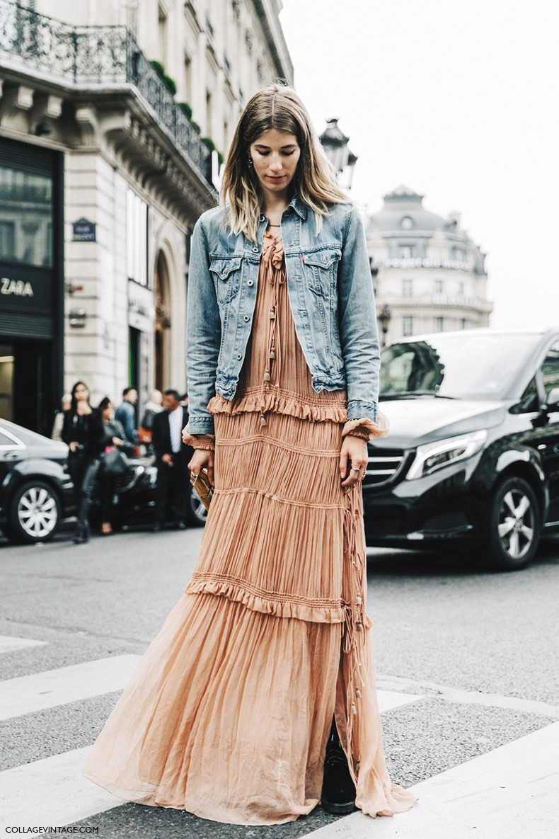 PFW-Paris_Fashion_Week-Spring_Summer_2016-Street_Style-Say_Cheese-Choe_Dress-Long-Maxi-Denim_Jacket-Veronika_Heilbrunner-