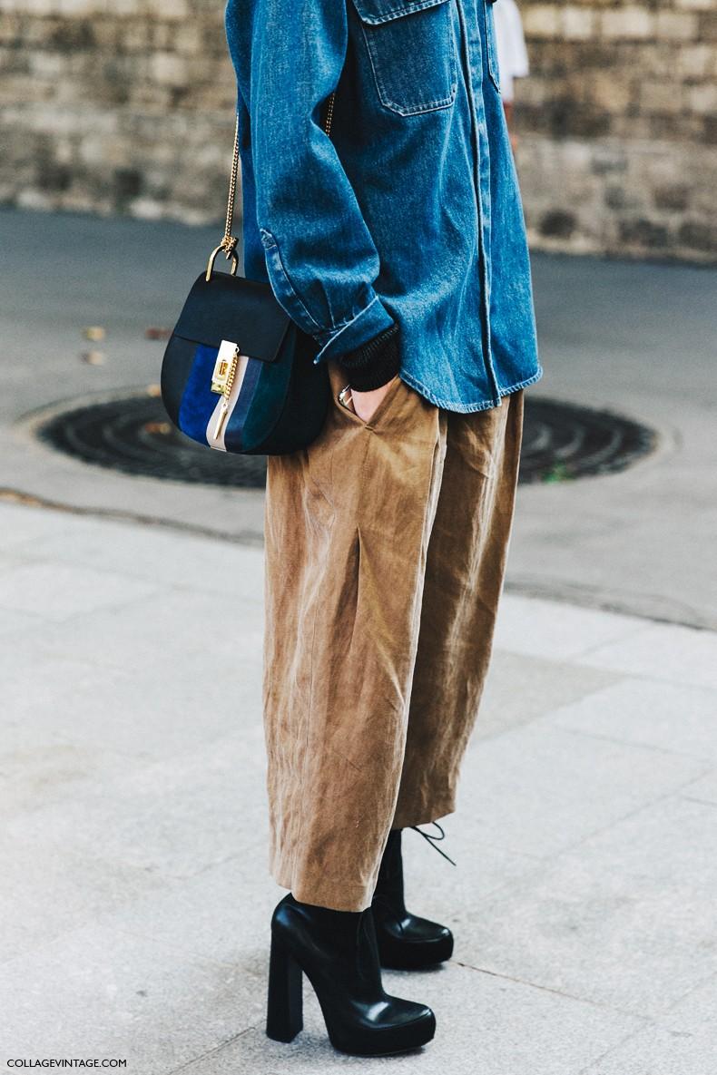 PFW-Paris_Fashion_Week-Spring_Summer_2016-Street_Style-Say_Cheese-Culotte-Camel-Denim_Shirt-Chloe_Bag-