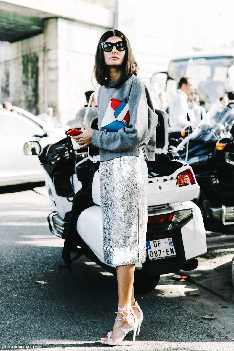 PFW-Paris_Fashion_Week-Spring_Summer_2016-Street_Style-Say_Cheese-Giovanna_Battaglia-Pencil_Skirt-Metallics-Sarah_Battaglia_Bags-7
