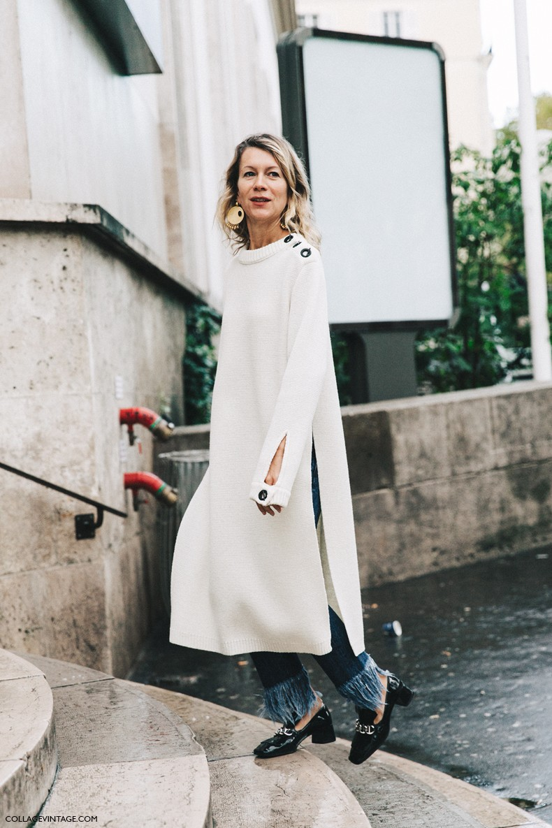 PFW-Paris_Fashion_Week-Spring_Summer_2016-Street_Style-Say_Cheese-Natalie_Joos-White_Knit-Jeans-Loafers-Big_Earring-
