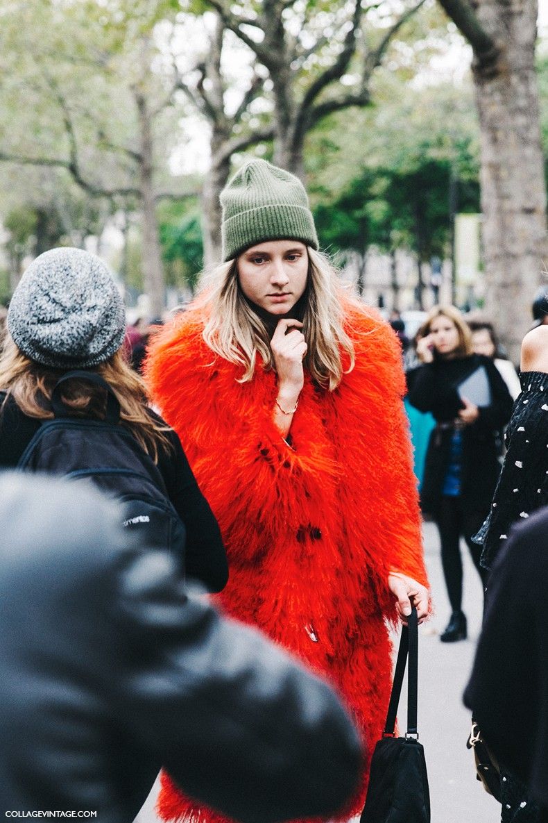 PFW-Paris_Fashion_Week-Spring_Summer_2016-Street_Style-Say_Cheese-Orange_Fur_Coat-Beanie-