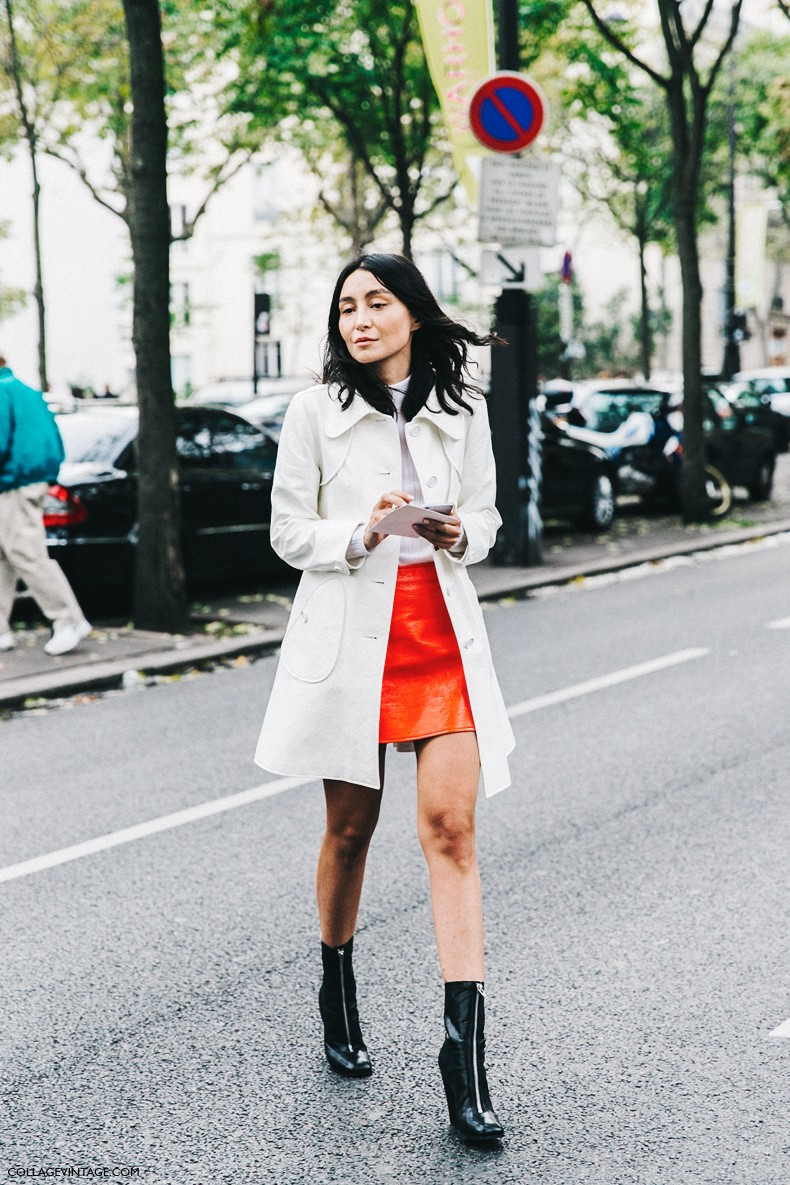 PFW-Paris_Fashion_Week-Spring_Summer_2016-Street_Style-Say_Cheese-Orange_Skirt_White_Coat-2