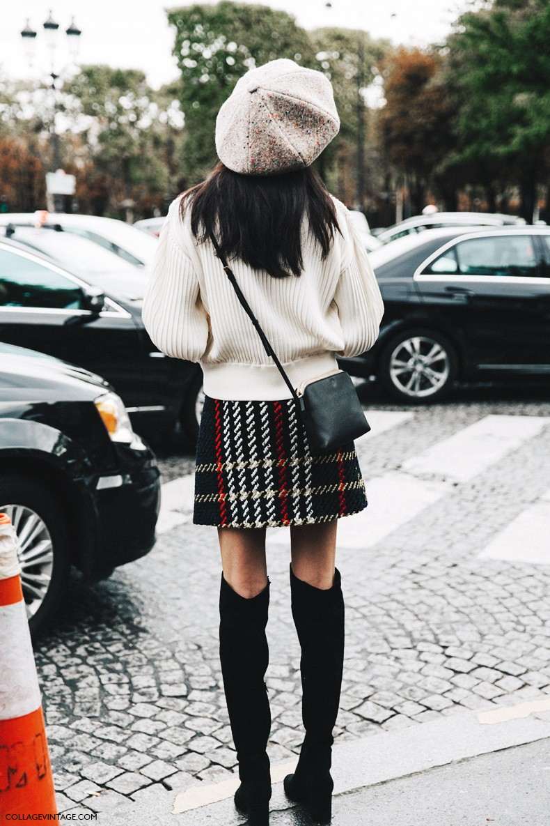PFW-Paris_Fashion_Week-Spring_Summer_2016-Street_Style-Say_Cheese-Over_The_Knew_Boots-Checked_Mini_Skirt-Loewe_Jacket-