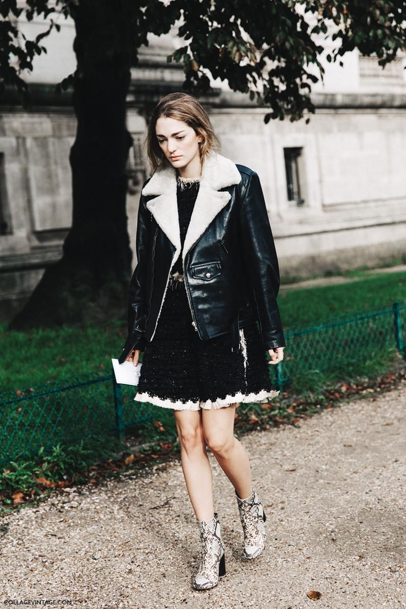PFW-Paris_Fashion_Week-Spring_Summer_2016-Street_Style-Say_Cheese-Sofia_Sanchez-Snake_Boots-Aviator_Jacket-Chanel-