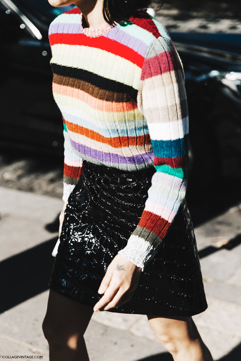 PFW-Paris_Fashion_Week-Spring_Summer_2016-Street_Style-Say_Cheese-Striped_Jumpsuit-Coco_mini_Skirt-