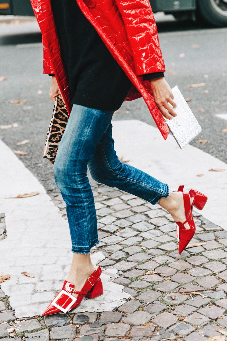 PFW-Paris_Fashion_Week-Spring_Summer_2016-Street_Style-Say_Cheese-Valentino_Spring_Summer_2016-Red_Coat-Miu_miu-JEans-1