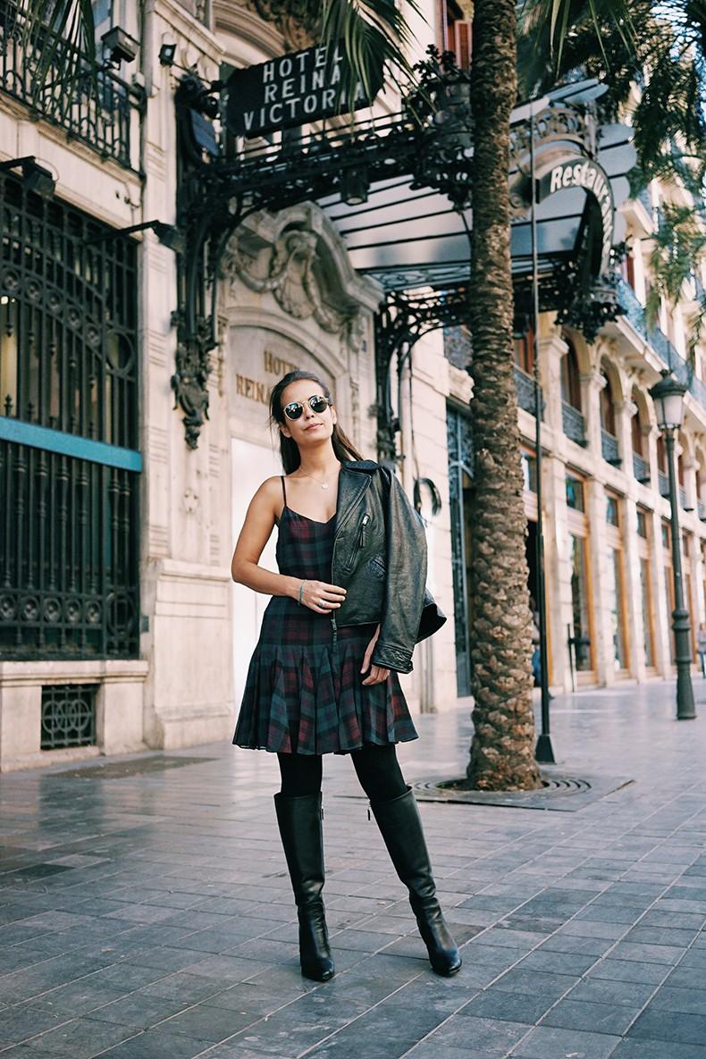 Polo_Ralph_Lauren-Valencia-Checked_Dress-Biker_Jacket-High_Boots-BRand_Ambassador-12