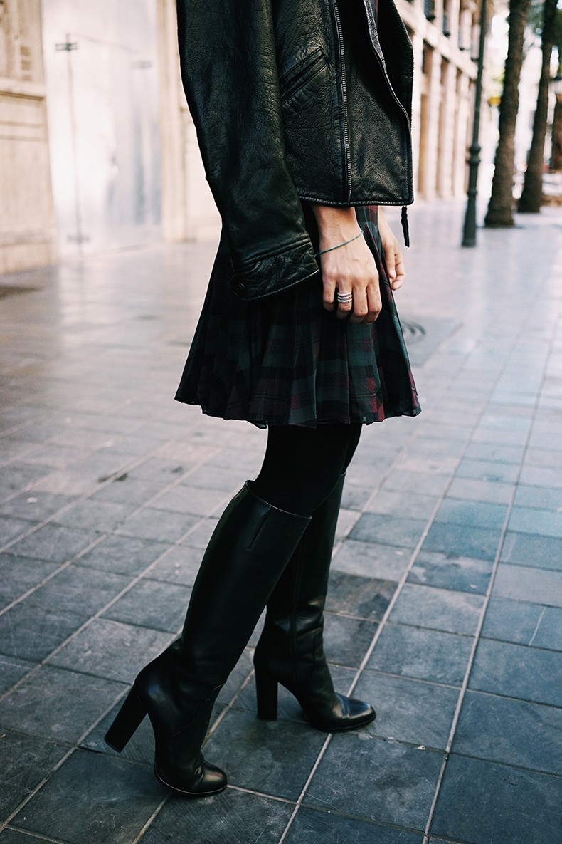Polo_Ralph_Lauren-Valencia-Checked_Dress-Biker_Jacket-High_Boots-BRand_Ambassador-3