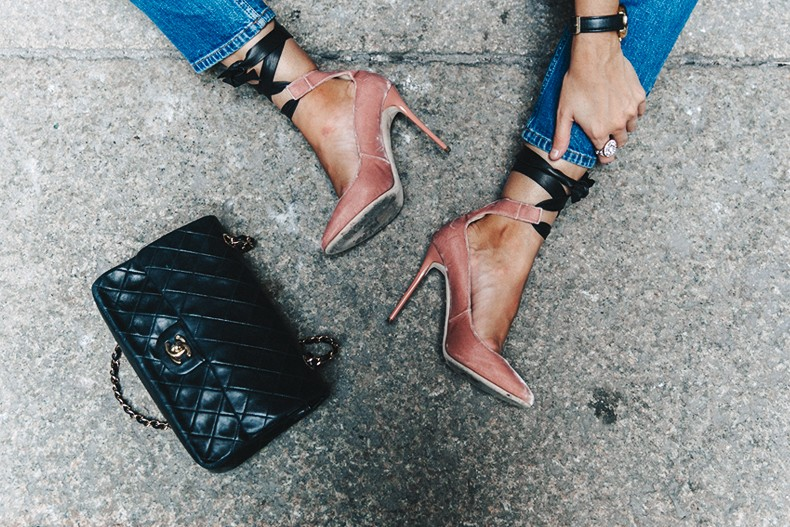 f674e2c87c ...  Topshop_Jeans-Jimmy_Choo_Shoes-Lace_Up-Ballerina_Heels-Grey_Top-Chanel_Vintage-Outfit-MFW-  ...