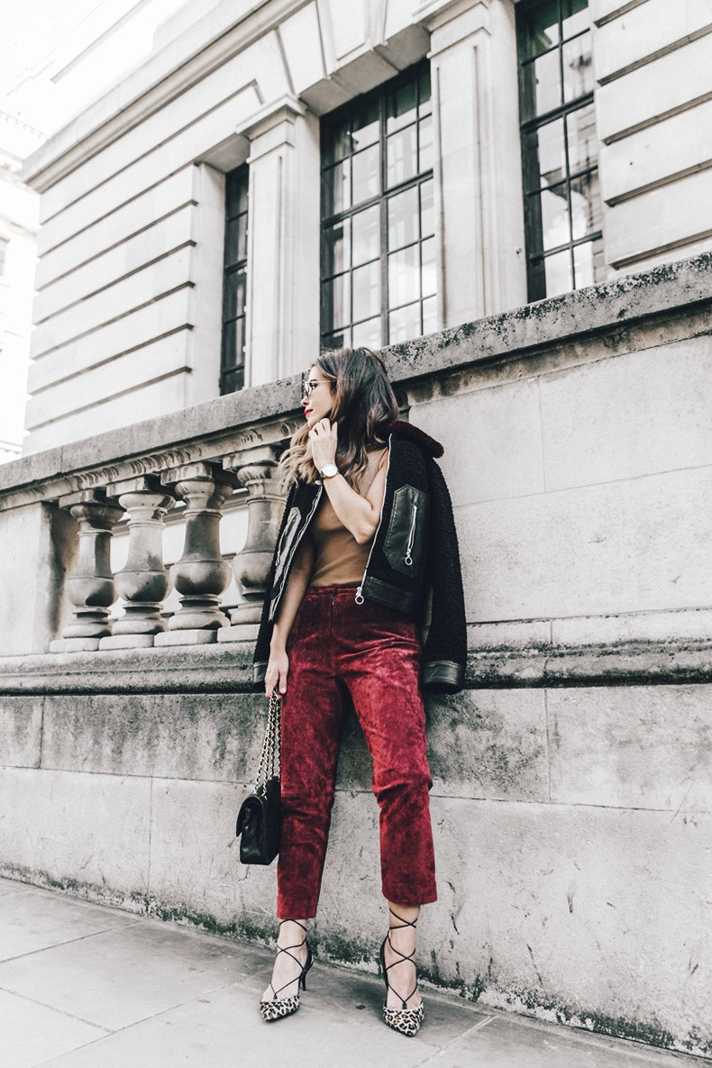 Topshop_unique-Burgundy_Suede_Trousers-Sandro_Jacket-Leopard_Shoes-Outfit-London-LFW-Street_Style-10