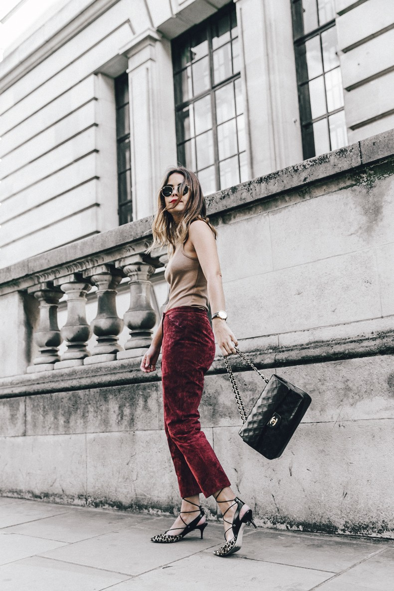 Topshop_unique-Burgundy_Suede_Trousers-Sandro_Jacket-Leopard_Shoes-Outfit-London-LFW-Street_Style-16