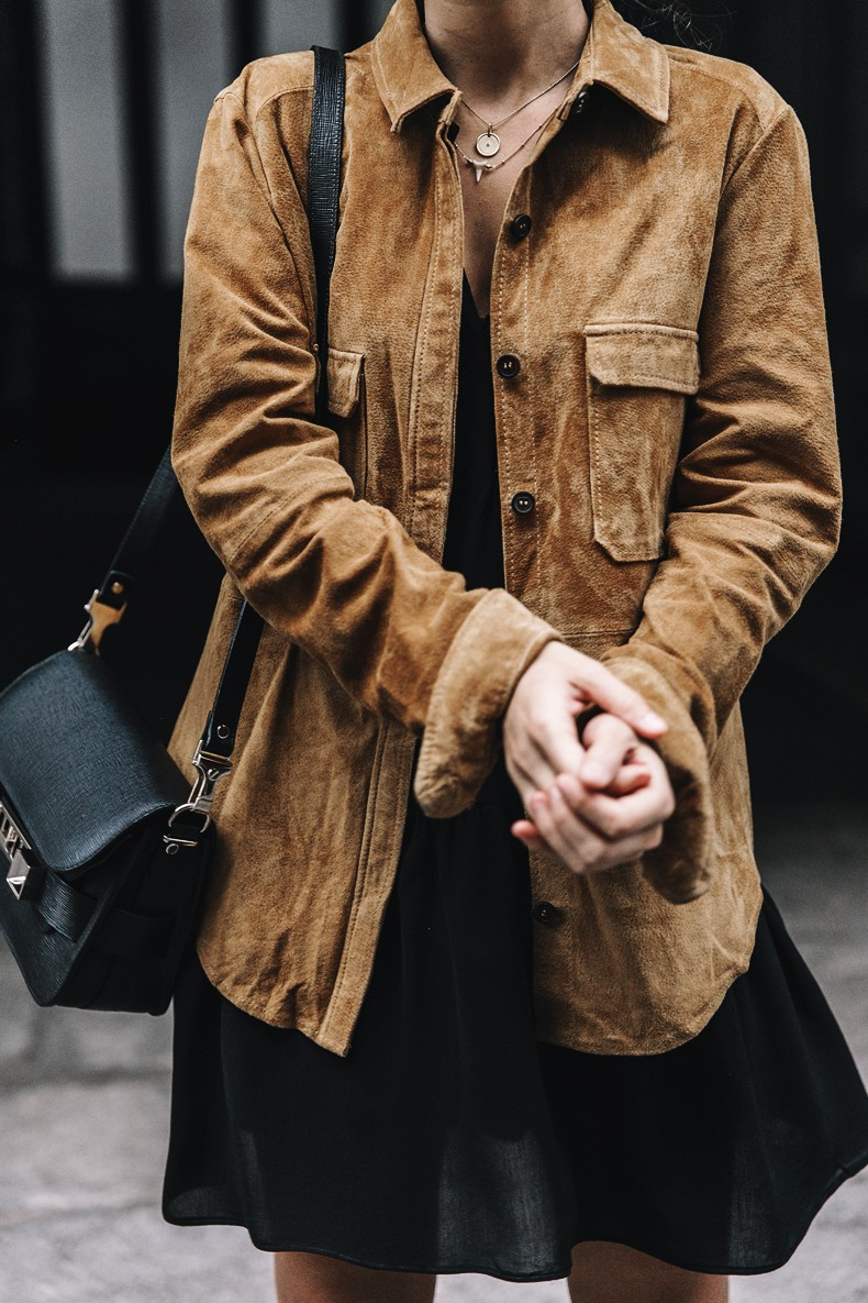 Camel_Suede_Shirt-Black_Dress-Studded_Booties-Collage_Vintage_For_Pepe_Jeans-Cut_Out_Boots-Proenza_Schouler-Outfit-10