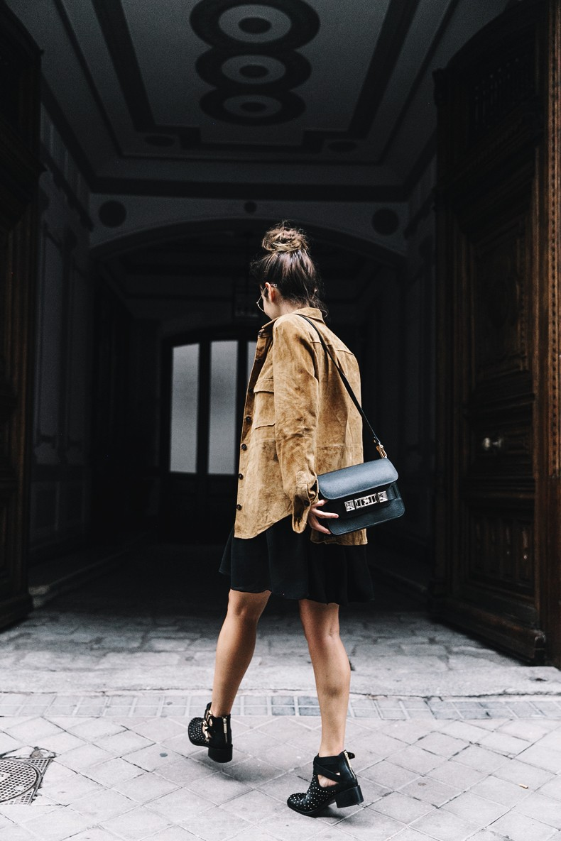 Camel_Suede_Shirt-Black_Dress-Studded_Booties-Collage_Vintage_For_Pepe_Jeans-Cut_Out_Boots-Proenza_Schouler-Outfit-17