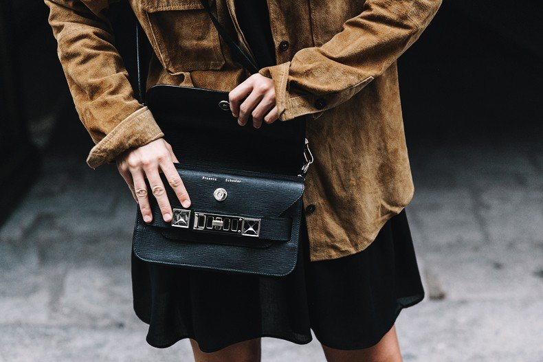 Camel_Suede_Shirt-Black_Dress-Studded_Booties-Collage_Vintage_For_Pepe_Jeans-Cut_Out_Boots-Proenza_Schouler-Outfit-20