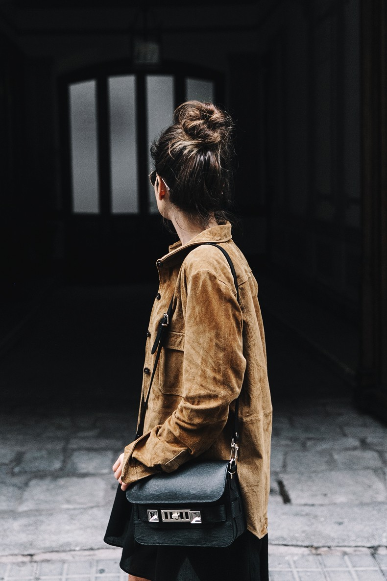 Camel_Suede_Shirt-Black_Dress-Studded_Booties-Collage_Vintage_For_Pepe_Jeans-Cut_Out_Boots-Proenza_Schouler-Outfit-8