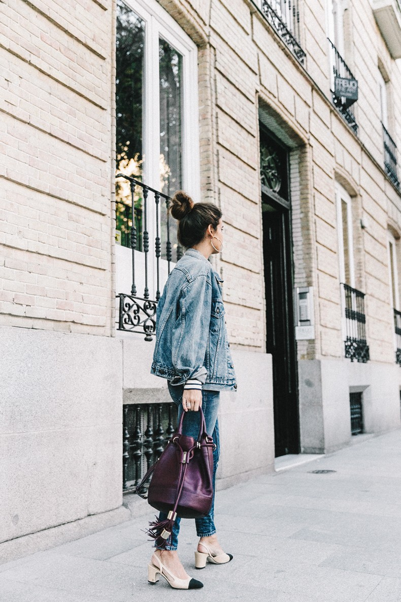 Double_Denim-Levis_Vintage-Skinny_Jeans-Striped_Top-See_By_Chloe_Bag-Chanel_Shoes-Outfit-Collage_Vintage-Street_Style-1