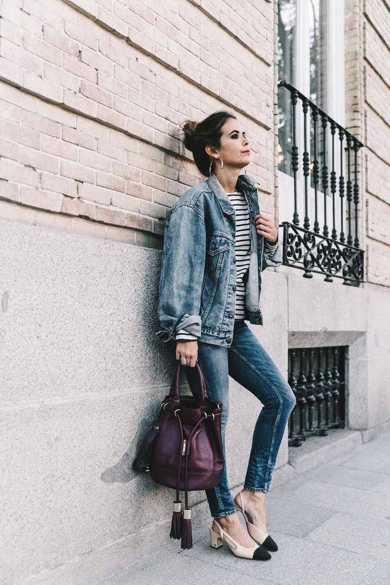 Double_Denim-Levis_Vintage-Skinny_Jeans-Striped_Top-See_By_Chloe_Bag-Chanel_Shoes-Outfit-Collage_Vintage-Street_Style-6