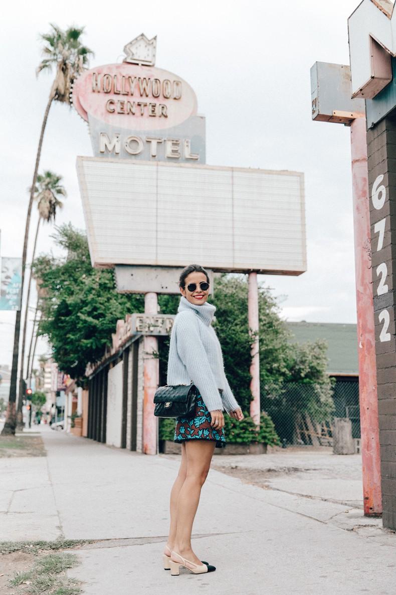 Floral_Skirt-Blue_Knit-Light_Blue-Chanel_Shoes-Chanel_Bag-Outfit-LA-