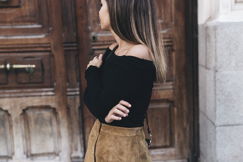 High_Boots-Suede_Skirt-Iro_Paris-Black_Jacket-Off_The_Shoulders_Sweater-Outfit-Street_Style-50