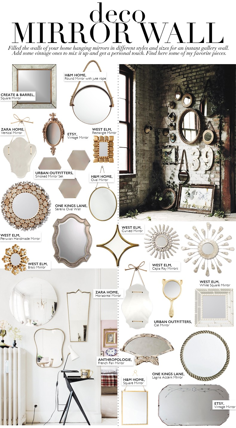 Deco mirror wall collage vintage bloglovin for How to make a mirror wall