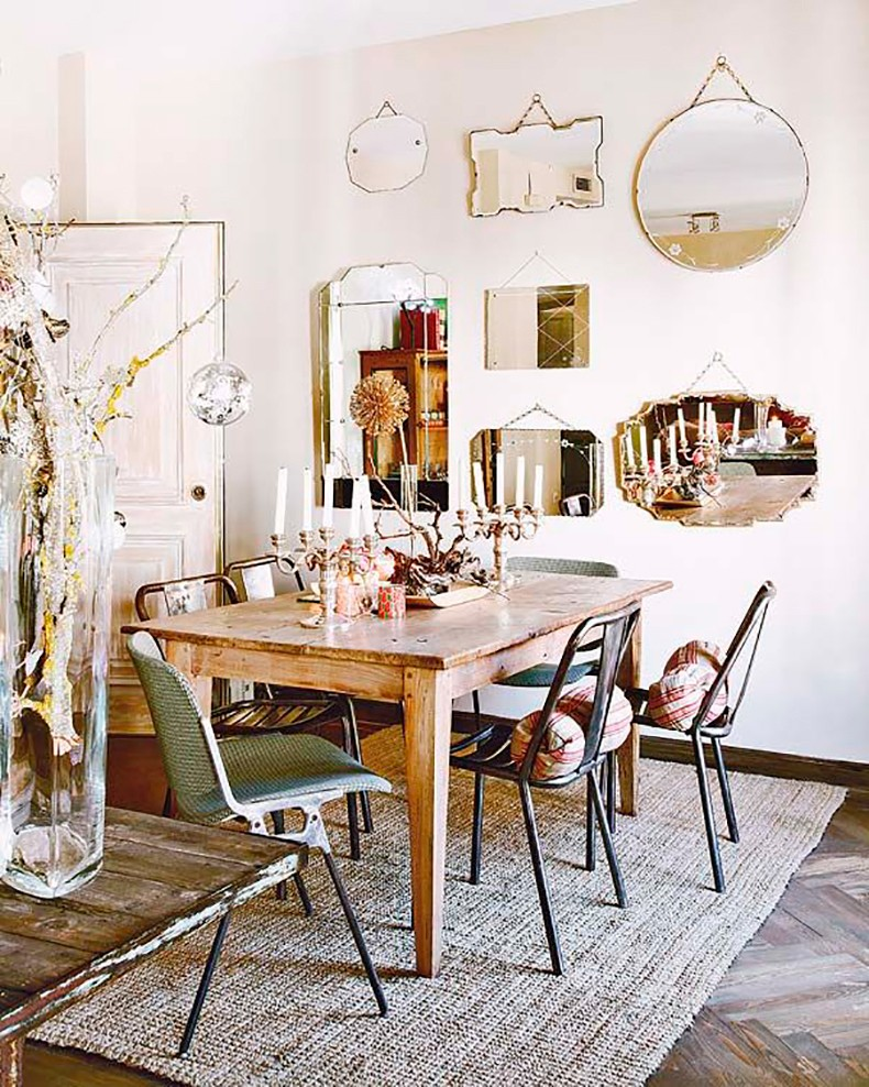 Deco mirror wall collage vintage bloglovin - Vintage dining room ideas ...