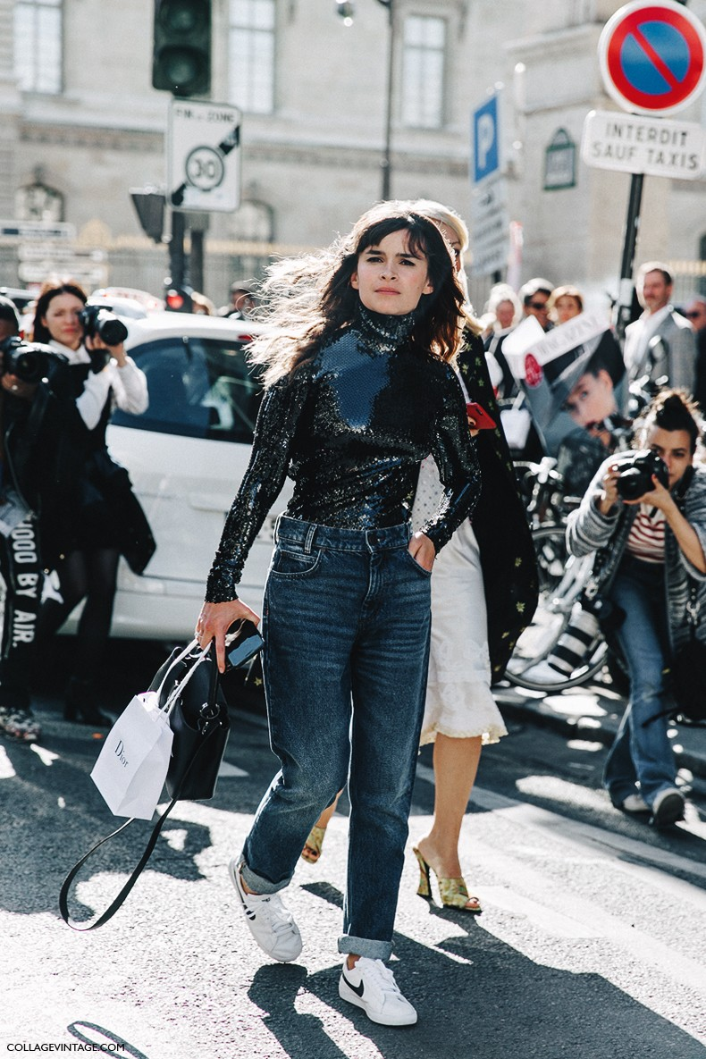 PFW-Paris_Fashion_Week_Spring_Summer_2016-Dior-Street_Style-Miroslava_Duma-Sequins_Top-JEans-Sneakers-