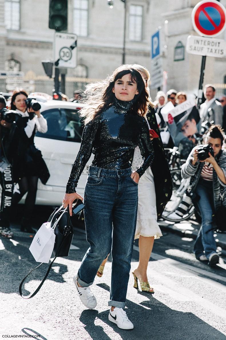 PFW-Paris_Fashion_Week_Spring_Summer_2016-Dior-Street_Style-Miroslava_Duma-Sequins_Top-JEans-Sneakers-