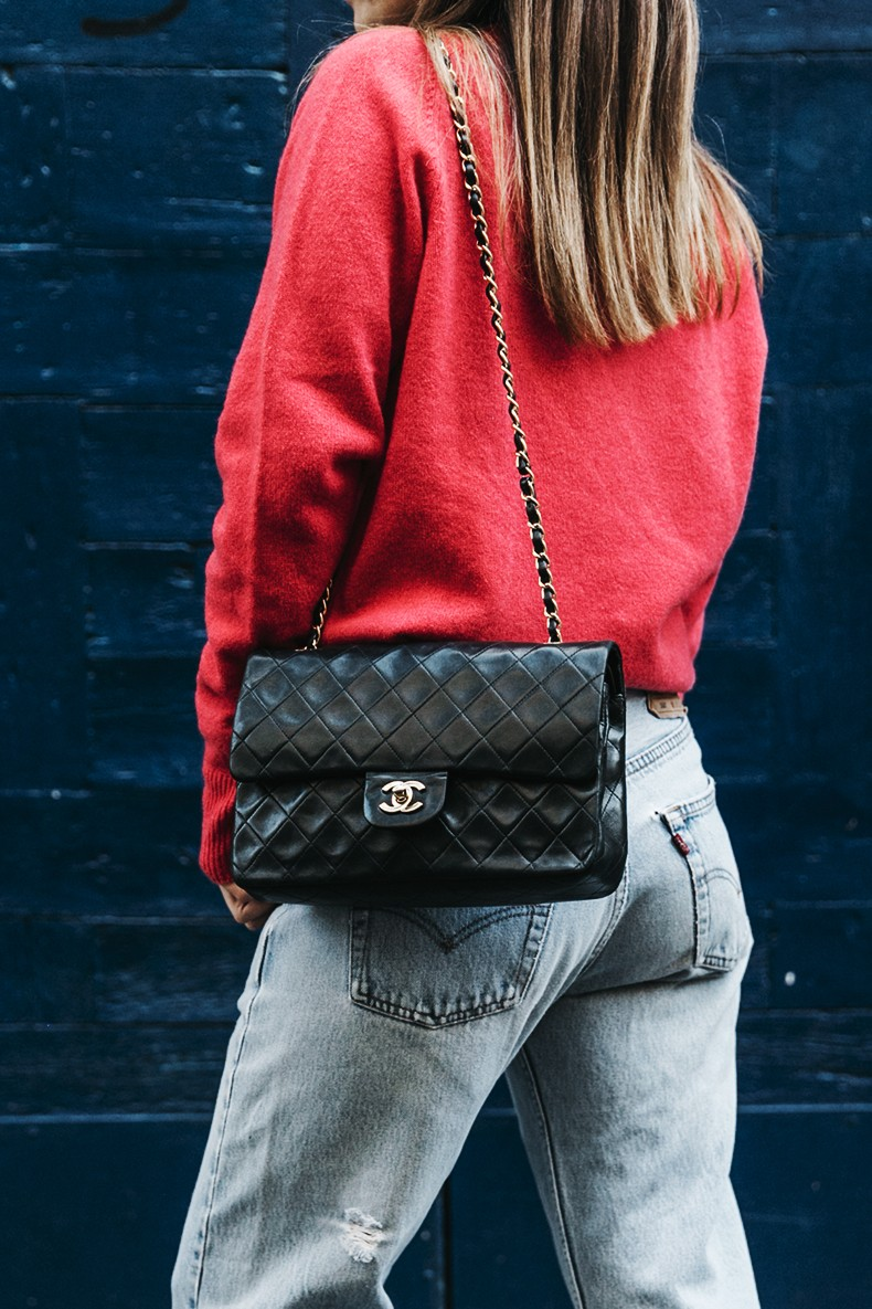 Pink_Sweater-LEvis_Vintage-Snake_Shoes-Chanel_Bag-Casual_Look-Outfit-Street_Style-Collage_Vintage-2