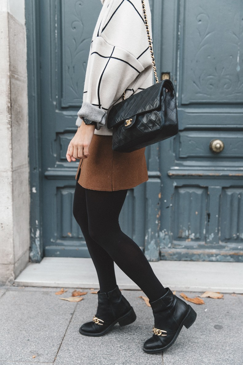 Checked_Sweater-Camel_Skirt-Chained_Booties-Chicwish-Collage_Vintage-Street_Style-Outfit-Mini_Skirt-Turtle_Neck-Hoop_Earrings-7