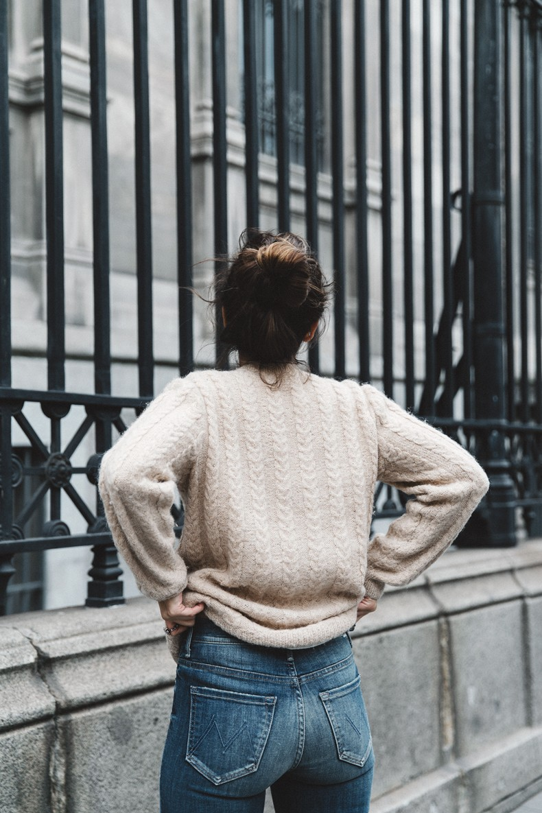 Patchwork_Coat-Faux_Fur_Coat-Asos-Mother_Jeans-Denim-Cable_Knit_Sweater-Snake_Effect_Booties-Topknot-Collage_Vintage-Street_Style-Outfit-28