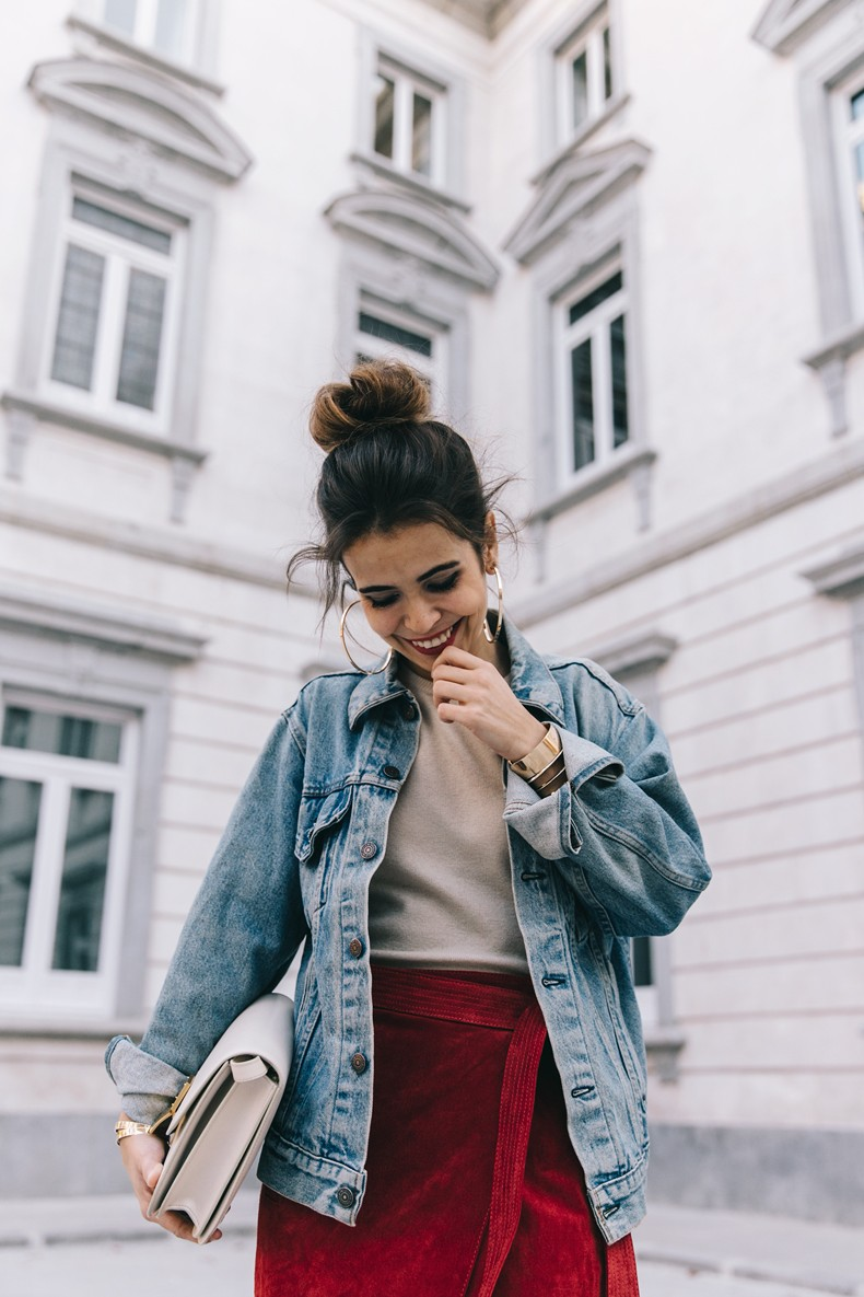 Wrap_Skirt-Red_Skirt-Suede-Levis_Vintage_Denim_Jacket-Isabel_Marant_Shoes-Printed_Pumps-Gold_Bracelets-Celine_Classic_Box-Hoop_Earrings-Topknot-Outfit-Street_Style-Vestiaire_Collective-20