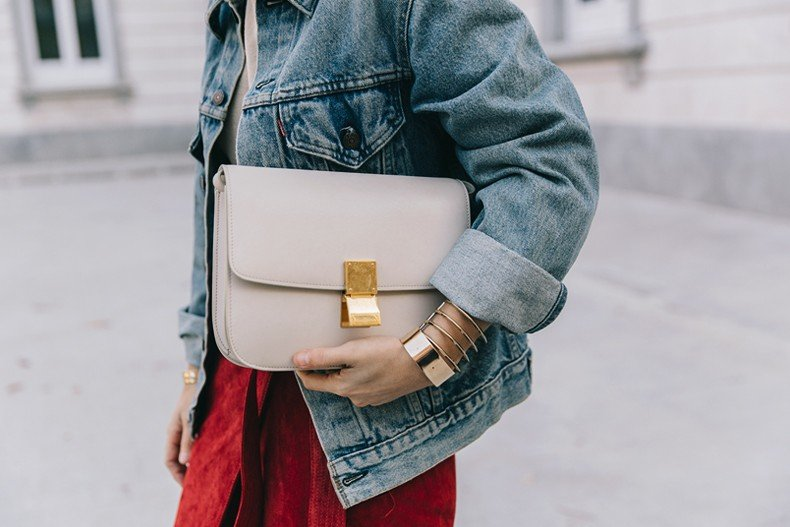 Wrap_Skirt-Red_Skirt-Suede-Levis_Vintage_Denim_Jacket-Isabel_Marant_Shoes-Printed_Pumps-Gold_Bracelets-Celine_Classic_Box-Hoop_Earrings-Topknot-Outfit-Street_Style-Vestiaire_Collective-50