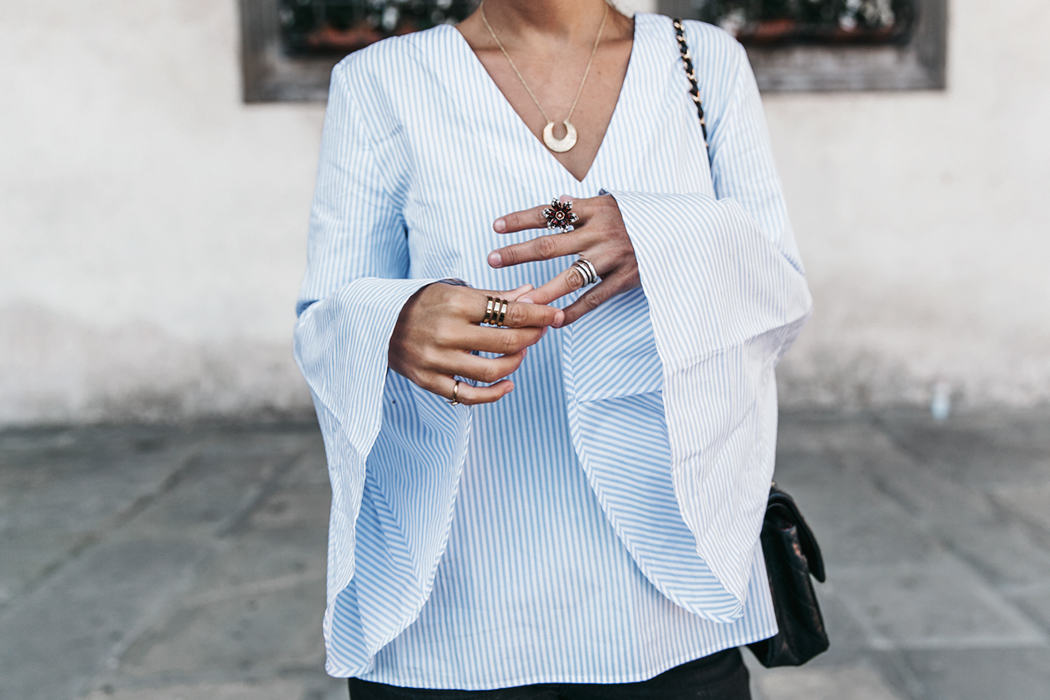 Florence-Collage_On_The_Road-Black_Jeans-Chanel_Slingback_Shoes-Blue_Shirt-Uterque-Topknot-Outfit-90
