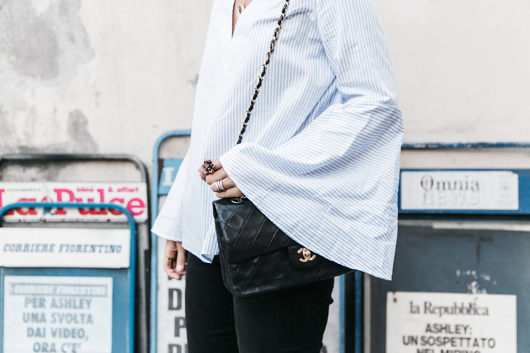 Florence-Collage_On_The_Road-Black_Jeans-Chanel_Slingback_Shoes-Blue_Shirt-Uterque-Topknot-Outfit-99