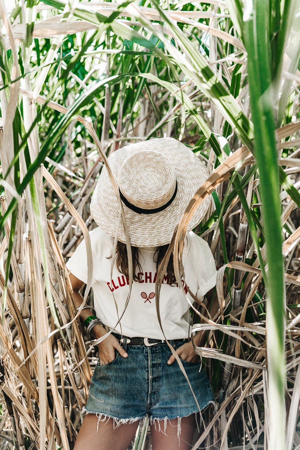 Jamica-Sugar_Cane_Field-Levis-Straw_Hat-Reebok_Tee-Outfit-Summer-Collage_on_The_Road-Bamboo_Walls-3