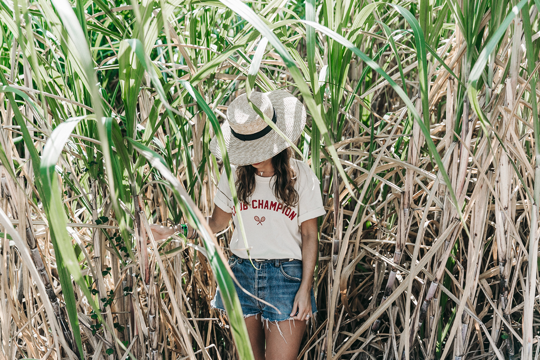 Jamica-Sugar_Cane_Field-Levis-Straw_Hat-Reebok_Tee-Outfit-Summer-Collage_on_The_Road-Bamboo_Walls-47