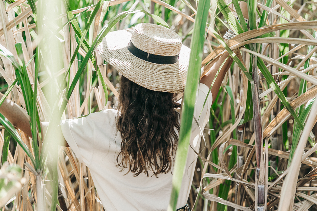 Jamica-Sugar_Cane_Field-Levis-Straw_Hat-Reebok_Tee-Outfit-Summer-Collage_on_The_Road-Bamboo_Walls-49