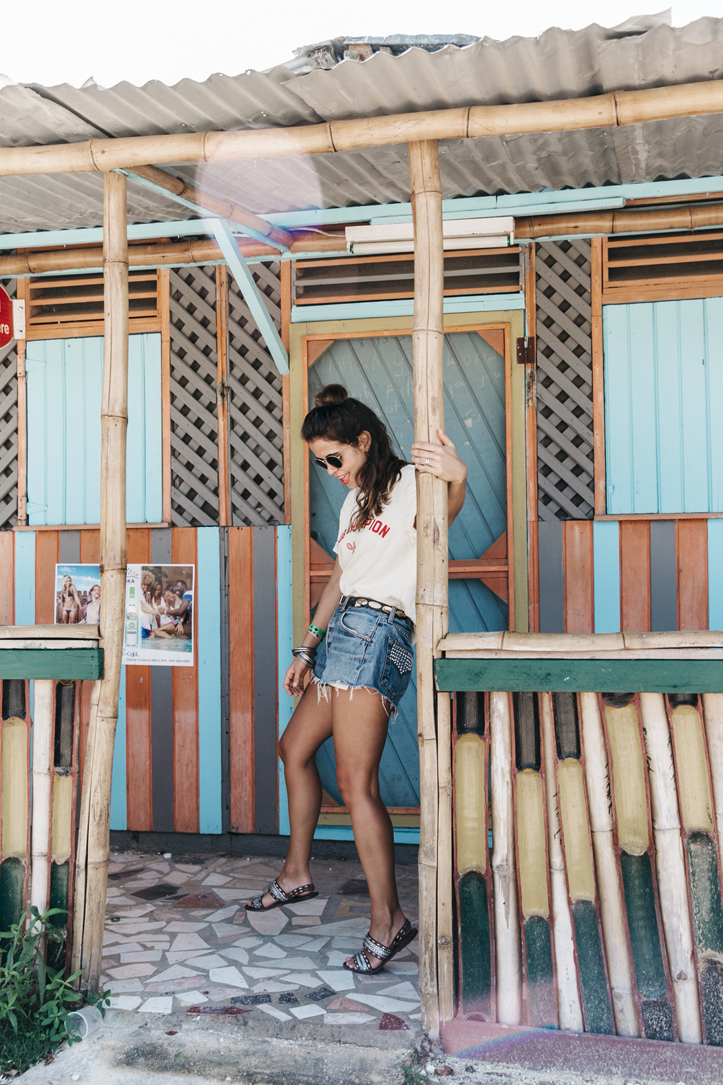 Jamica-Sugar_Cane_Field-Levis-Straw_Hat-Reebok_Tee-Outfit-Summer-Collage_on_The_Road-Bamboo_Walls-69
