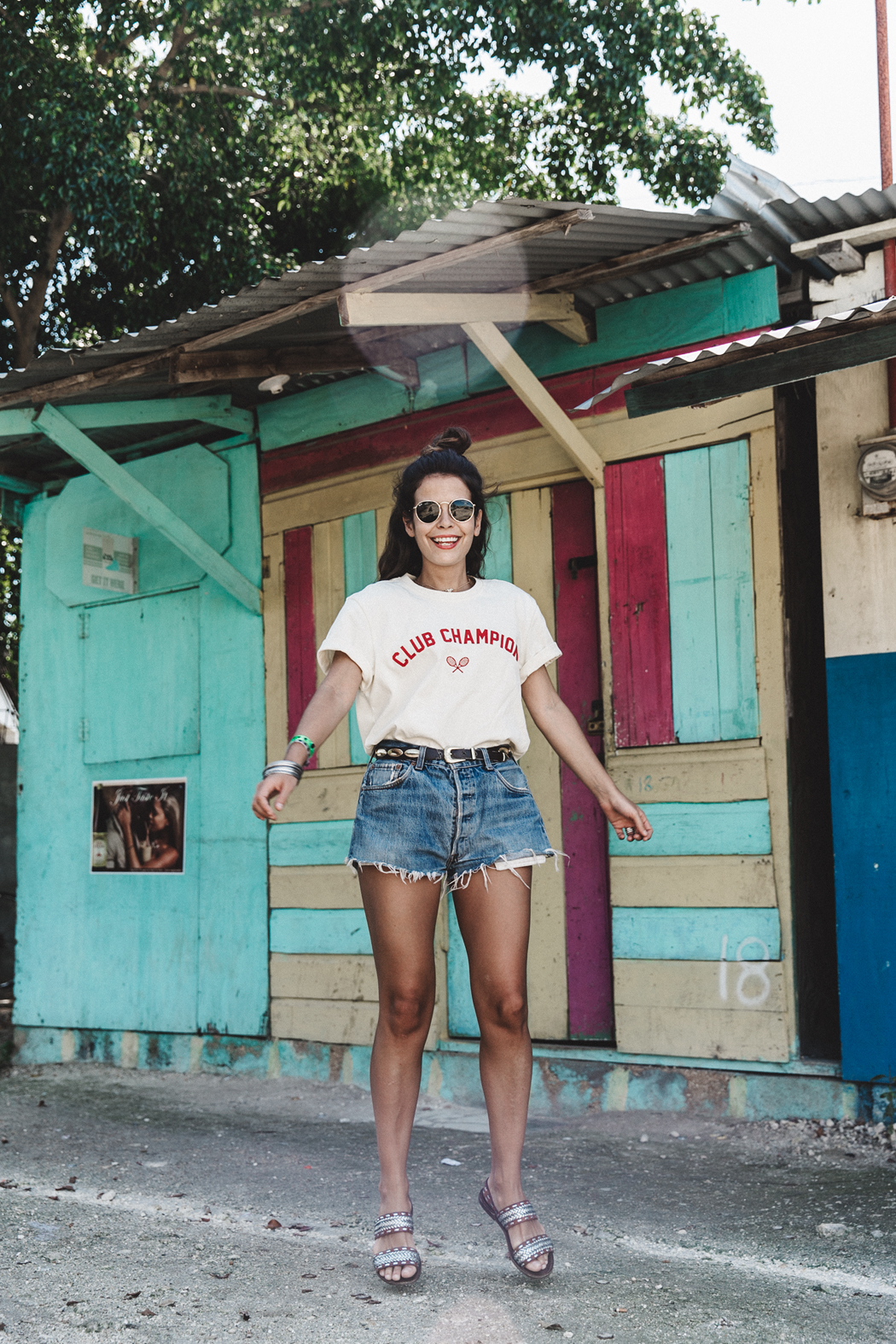 Jamica-Sugar_Cane_Field-Levis-Straw_Hat-Reebok_Tee-Outfit-Summer-Collage_on_The_Road-Bamboo_Walls-79