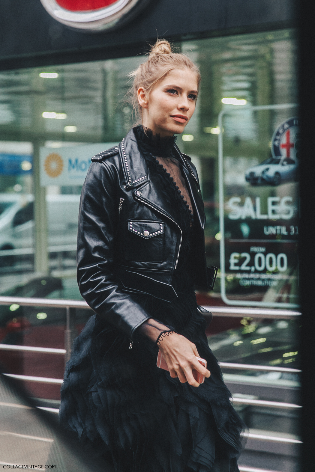 LFW-London_Fashion_Week_Fall_16-Street_Style-Collage_Vintage-Elena_Perminova-Total_Black-Leather_Biker_Jacket-1