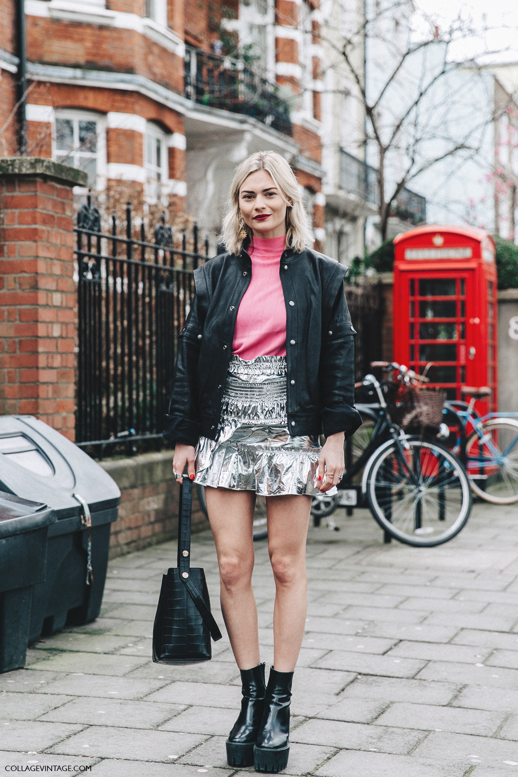 LFW-London_Fashion_Week_Fall_16-Street_Style-Collage_Vintage-Pandora_Sykes-Metallic_Skirt-Biker_Jacket-Pink_Sweater-5
